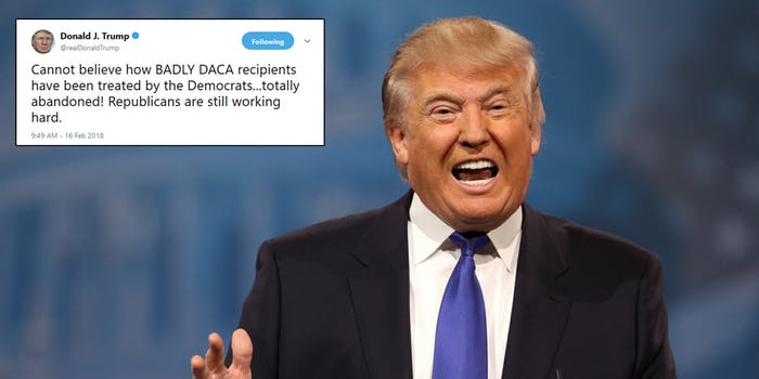 Donald Trump blasted Democrats for treating DACA recipients 'badly,' glossing over the fact that his administration rescinded the program last year.