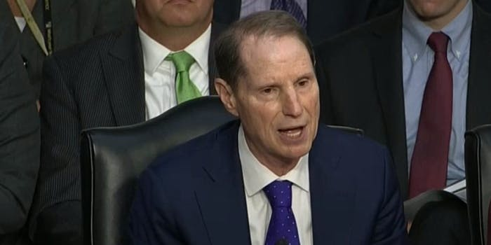 """Sen. Ron Wyden (D-Ore.) dug into representatives from Google, Facebook and Twitter during Wednesday's hearing on how those tech companies were infiltrated by Russian actors and puffed up with """"fake news"""" ahead of the 2016 election and beyond."""