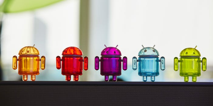 best android features : Five Android figurines in a row
