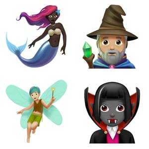 Mystical emoji including mermaid, wizard, fairy, vampire