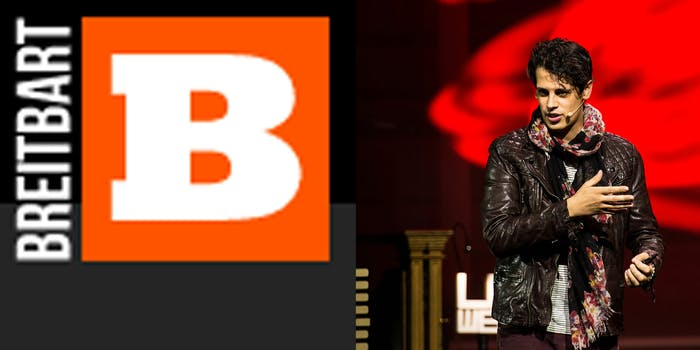 Breitbart News logo and Milo Yiannopoulos