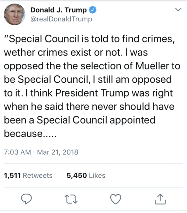 trump four typo tweet