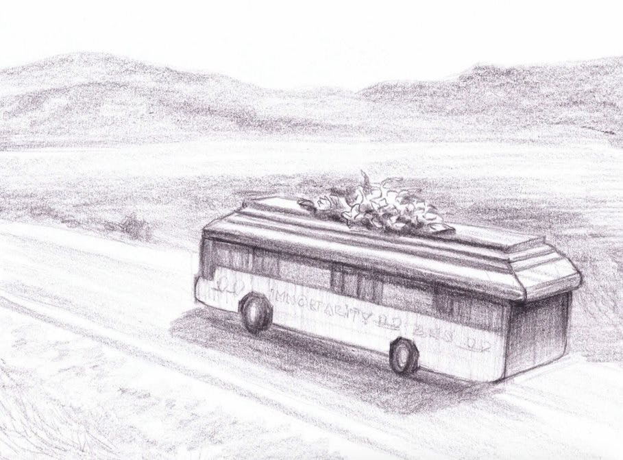 An early rendering of the Immortality Bus
