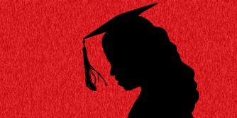 Illustration depicting a graduating woman's silhouette