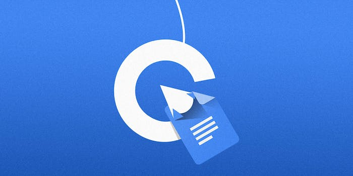 Google logo as a fishing hook with Google doc icon as bait
