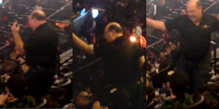 Man dances to Michael Jackson before Janet Jackson concert.