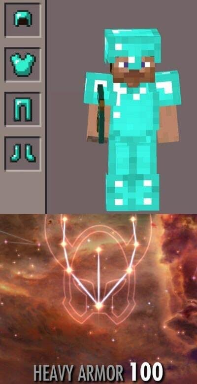 minecraft heavy armor skyrim meme