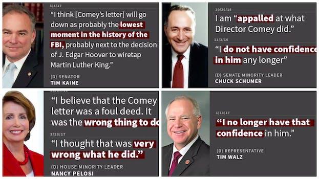 donald trump video: trump highlights hypocrisy on comey firing from democrats