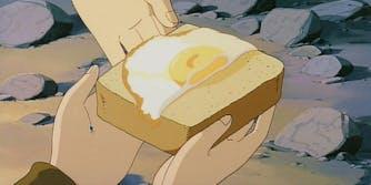 egg toast laputa meme