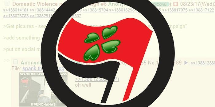 Antifa logo with 4chan logo on flag