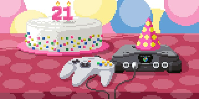 8-bit Nintendo 64 with 21st birthday cake