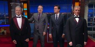 Stephen Colbert John Oliver wax presidents