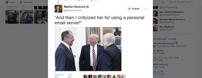 Sen. Martin Heinrich's Twitter post.
