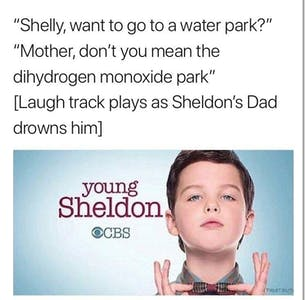 young sheldon water park drowning meme
