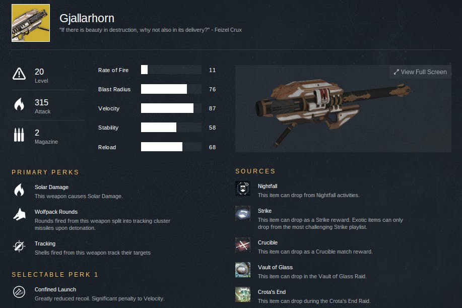 We've pulled Gjallarhorn three times so far. Keep trying. You'll get one eventually.