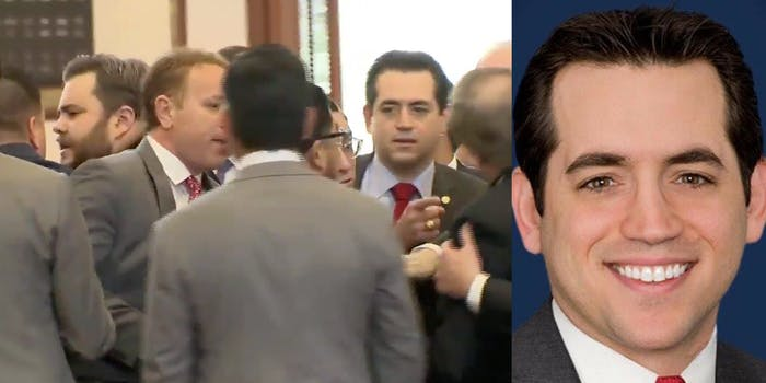 State Rep. Matt Rinaldi of Texas and other lawmakers fight on the House floor
