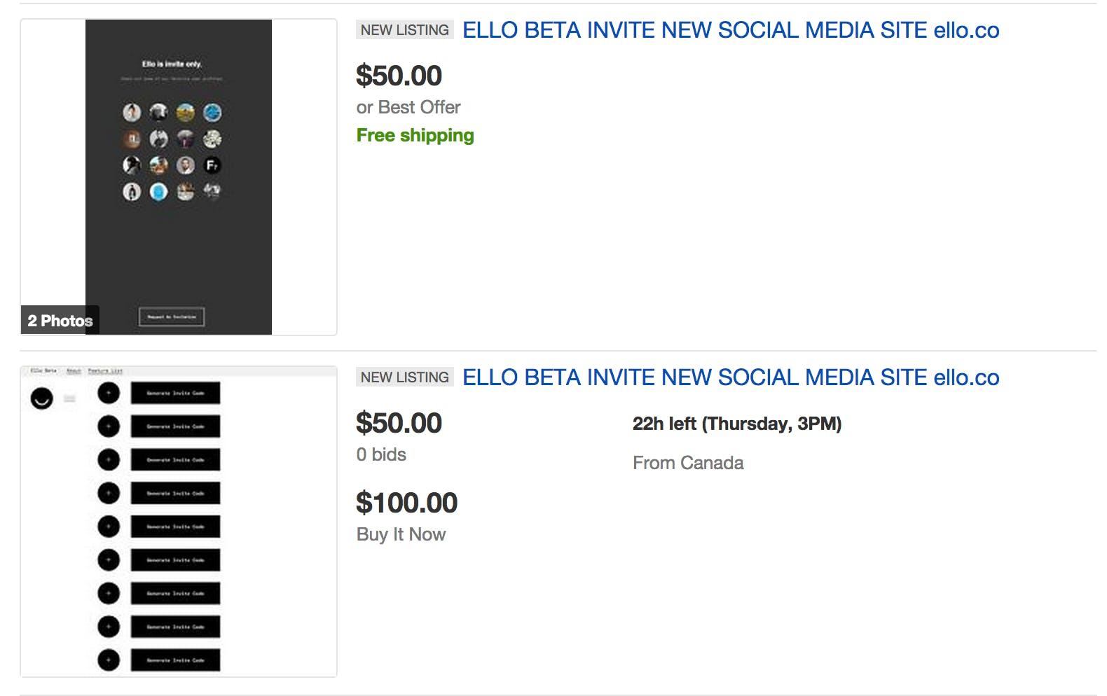 Ello Ebay auctions
