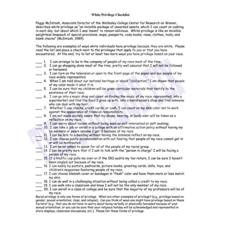 white privilege checklist