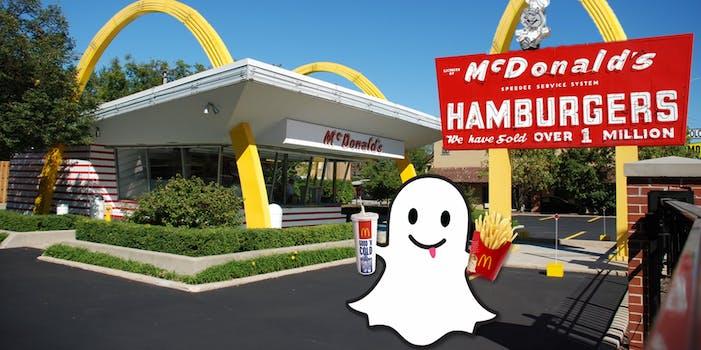 McDonalds job applications Snapchat