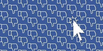 Vector illustration of a cursor icon over a pattern of Facebook thumbs down icons.