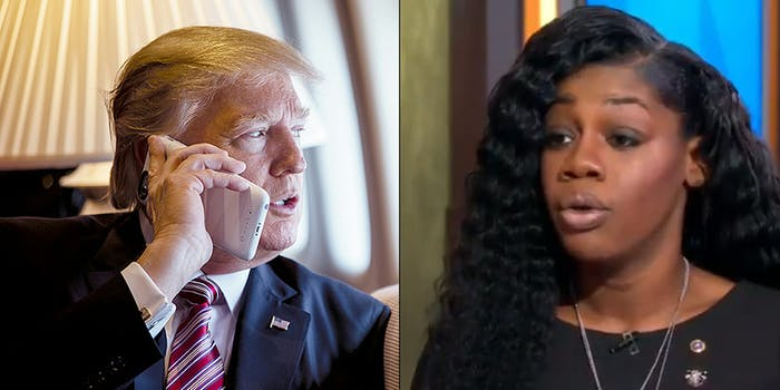 Myeshia Johnson, the widow of Sgt. La David T. Johnson, said claims that Donald Trump told her that her husband 'knew what he signed up for' were '100 percent correct' during an interview with Good Morning America.