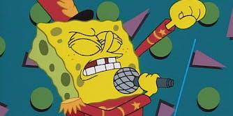 Spongebob Squarepants singing into microphone