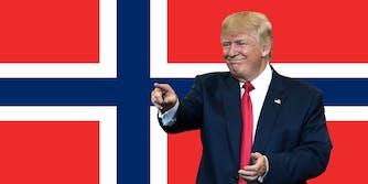 "Donald ""shithole"" Trump over a Norwegian flag"