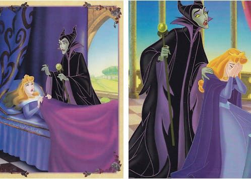 scans of art from 'My Side of the Story - Sleeping Beauty.' A concerned Maleficent stands over a startled Aurora in bed; in the next picture, Maleficent, still looking concerned and sympathetic, stands behind Aurora as she cries. The artwork is colorful and done in the style of the original animation.