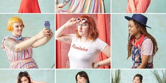 Nine ModCloth models pose in this composite photo.