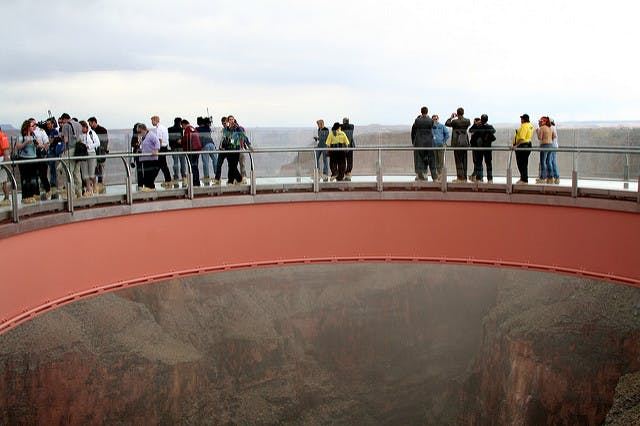Brave souls enjoying the opening day of the Grand Canyon Skywalk.