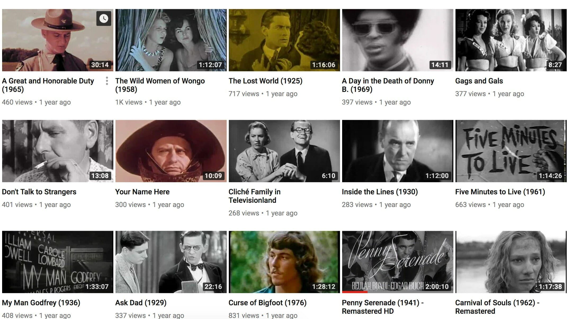 old movies on youtube