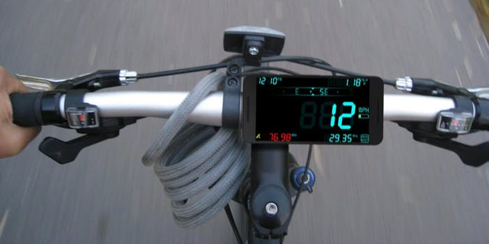 best speedometer app for iphone - a smartphone strapped to a bike