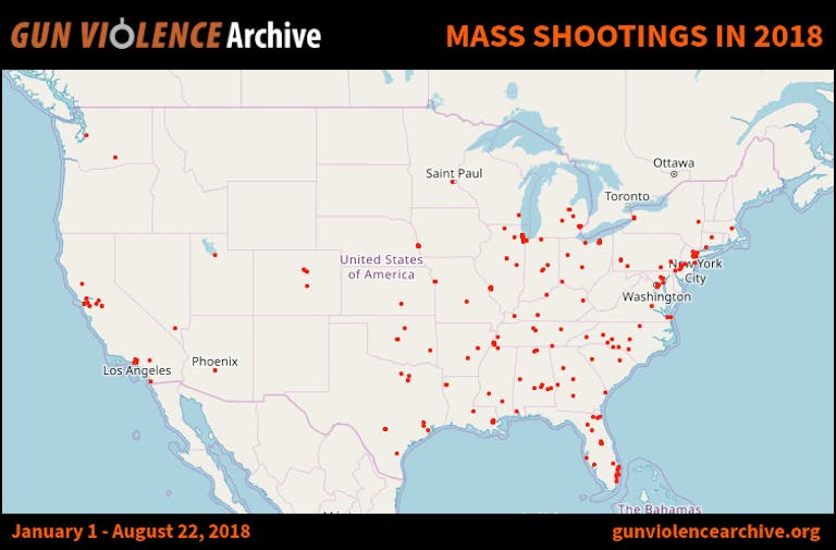 number of mass shootings 2018