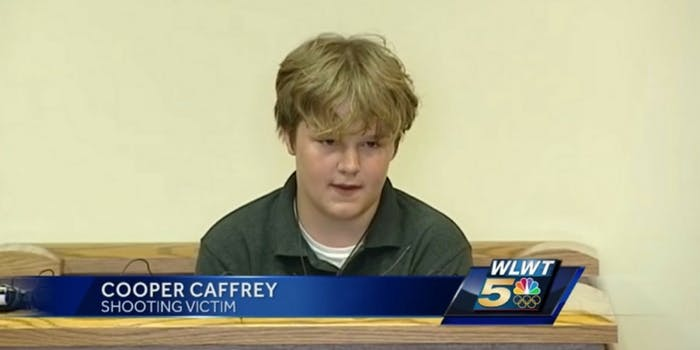 Ohio student Cooper Caffrey gives testimony at the sentencing of the boy who shot him during a school shooting.