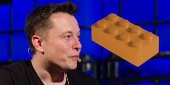 Elon Musk with a beige lego brick