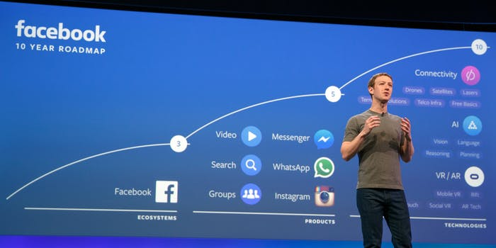 Zuckerberg onstage at F8 in 2016