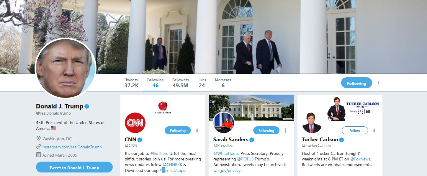 President Donald Trump followed, then quickly unfollowed, CNN on Twitter on Monday morning.