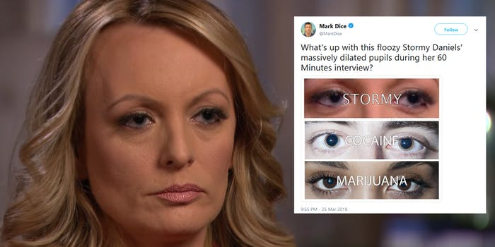 Some on Twitter speculated that Stormy Daniels was high during her 60 Minutes interview–the evidence is apparently the size of her pupils.