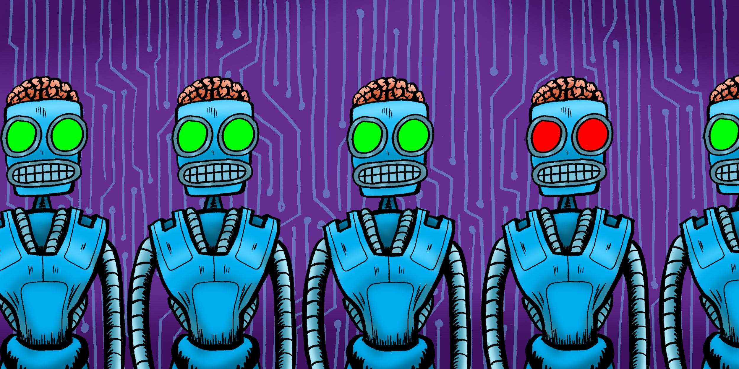 A line of identical robots with one having evil eyes