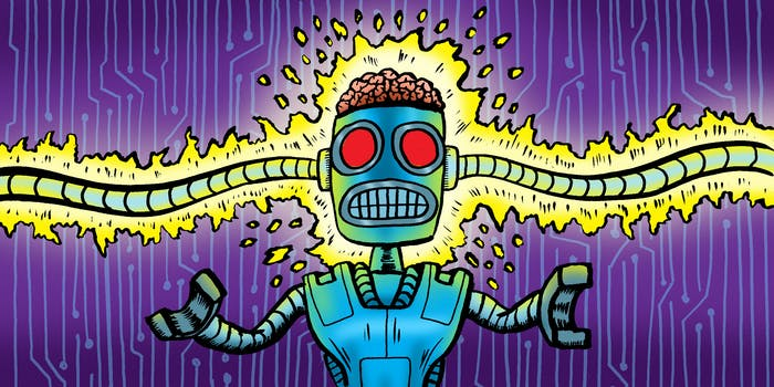 AI robot is getting shocked illustration