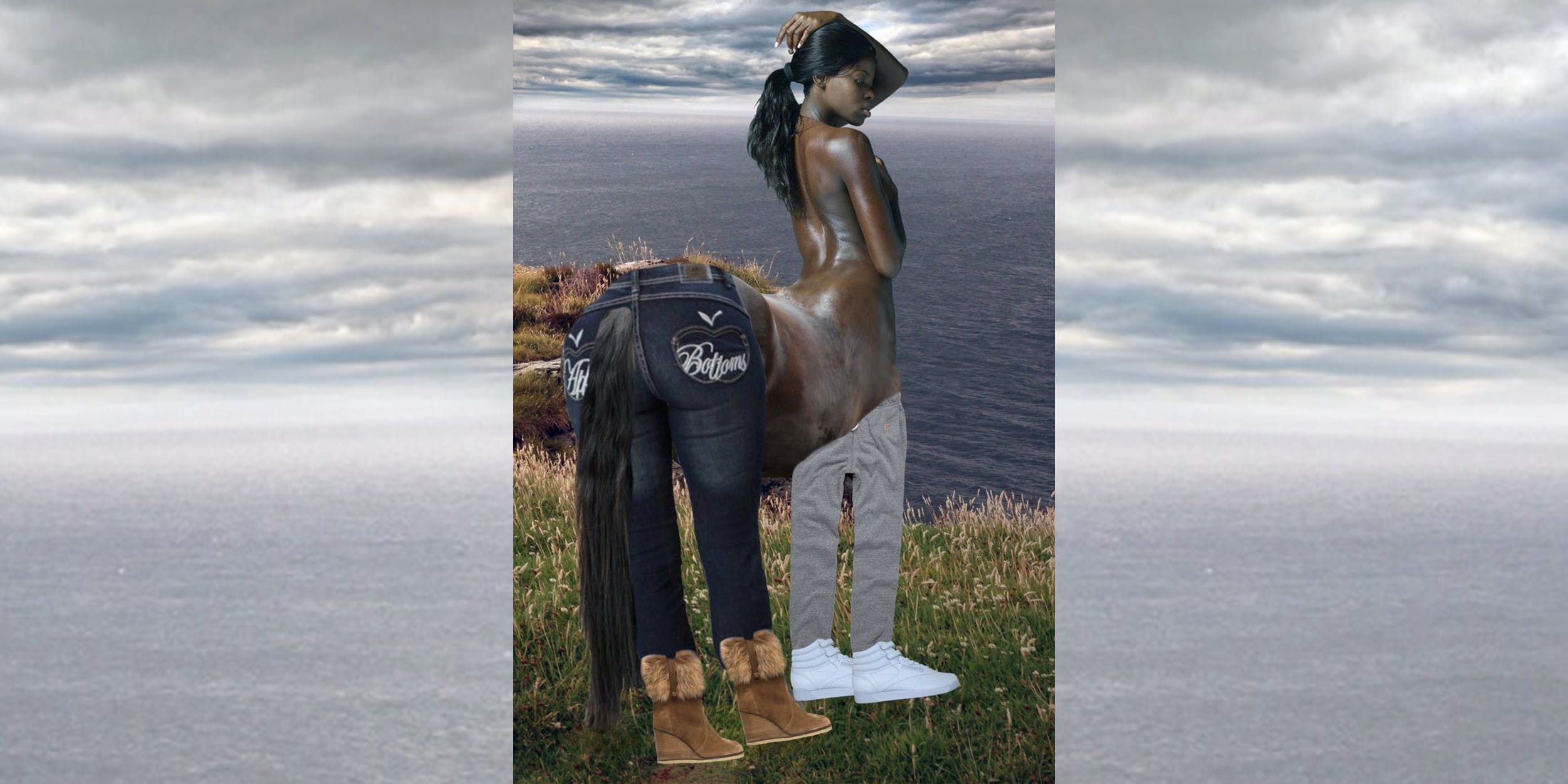 Centaur woman with Apple Bottom jeans, boots with the fur, baggy sweatpants and the Reeboks with the straps