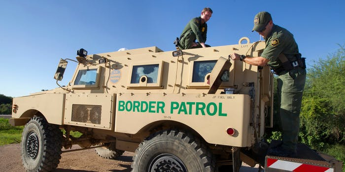 Border Patrol Agents conduct an operations check on a Mine Resistant Ambush Protected (MRAP) vehicle.
