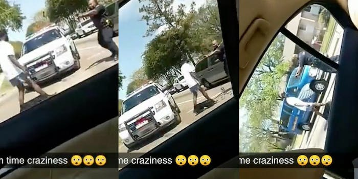 Snapchat video of Danny Thomas following an officer prior to his shooting.