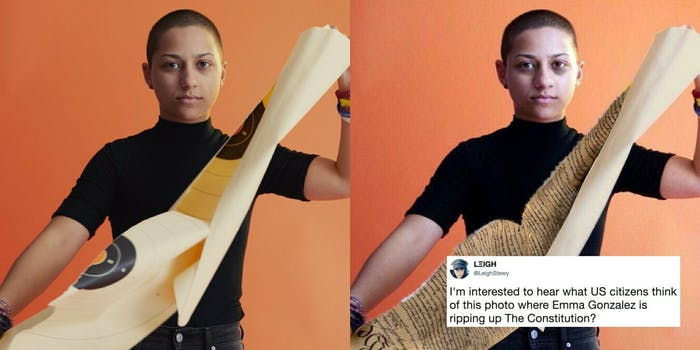 Two images of Emma Gonzales, one of her ripping up a target practice sheet and the other ripping up the Constitution.