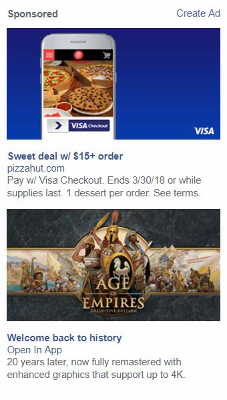 facebook ads pizza age of empires