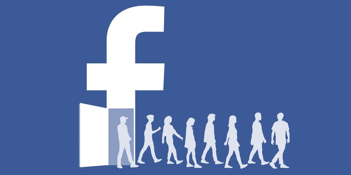 """People walking out of a door in the Facebook """"f"""" logo"""