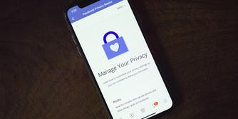 Facebook privacy page on iPhone X