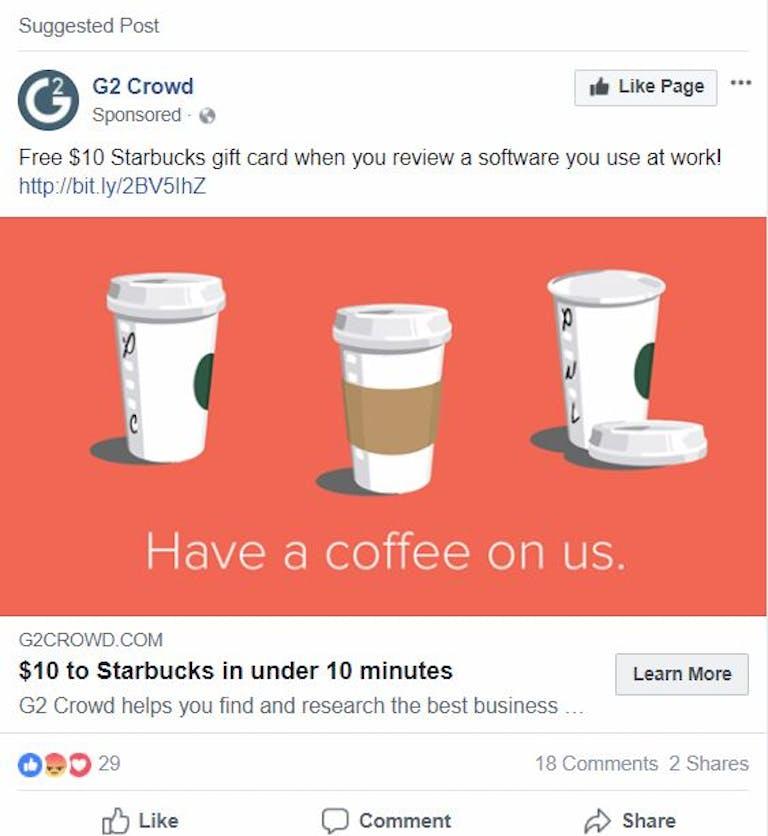 facebook coffee ad social media