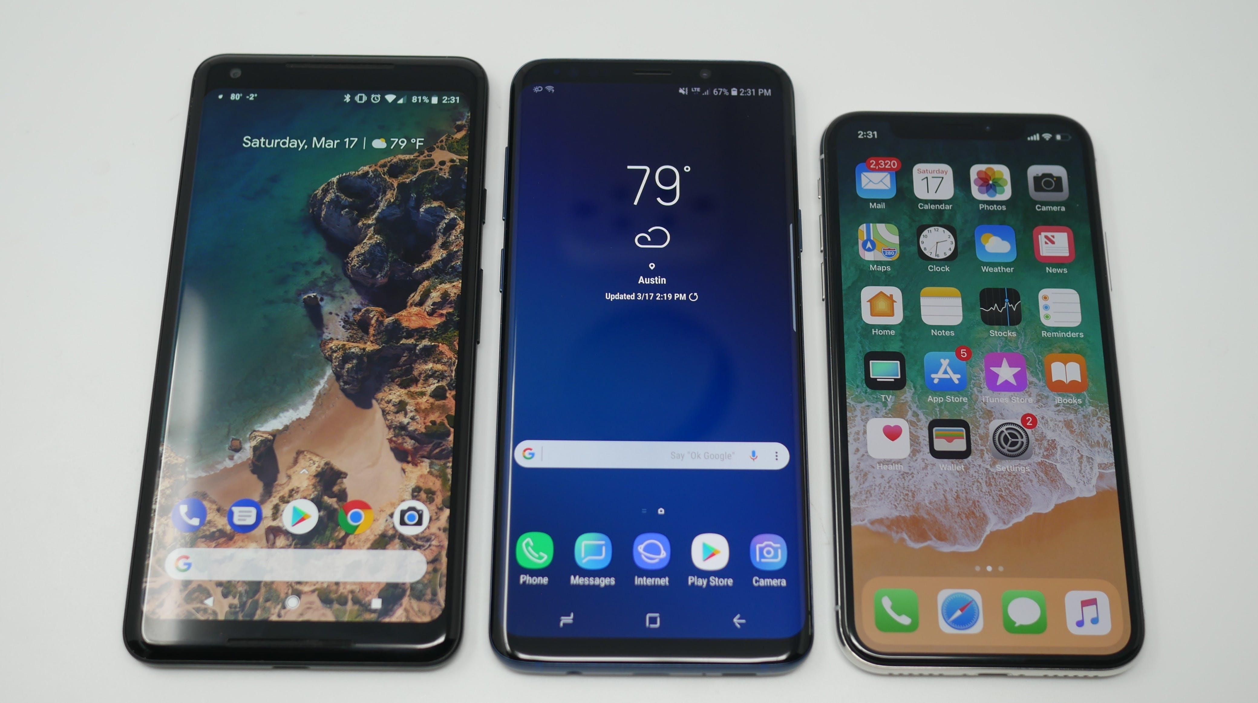 pixel 2 xl vs samsung galaxy s9 vs apple iphone x