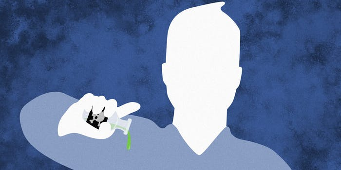 Facebook icon dripping poison from small glass bottle